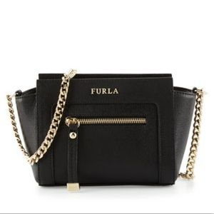 Furla Mini Ginevra Black Onyx Saffiano Leather Bag
